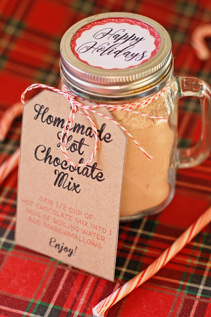 Homemade Hot Chocolate Mix Recipe with printable lid labels and tags