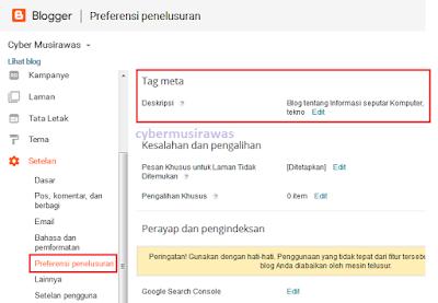 Cara menampilkan menu Deskripsi Penelusuran pada Blogger
