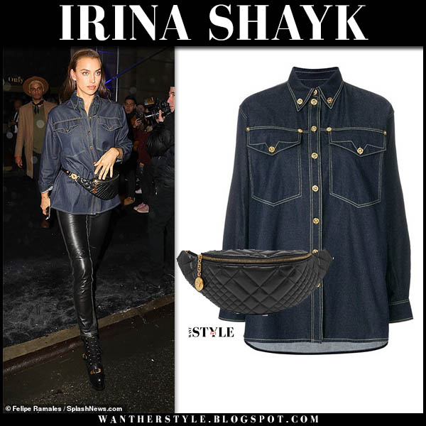Irina Shayk in denim shirt, black leather pants with black leather Versace belt bag model chic winter style december 2