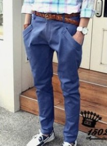 Blue Men Conical Casual Cotton Harem Pants $6.99