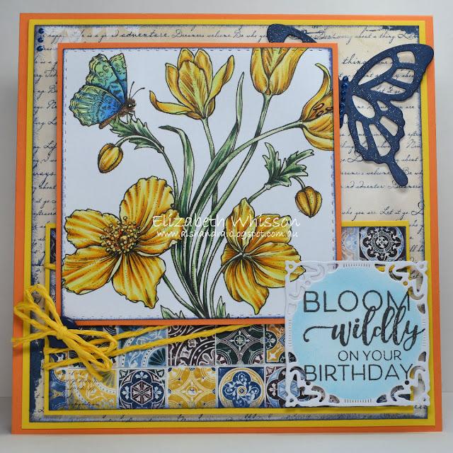 Elizabeth Whisson, Alshandra, butterfly, copic, PowerPoppy, bloom wildly on your birthday, happy birthday, flowers, sunset sway,