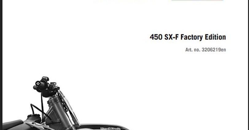 KTM 2015 450 SX-F FACTORY EDITION — Owner's Manual