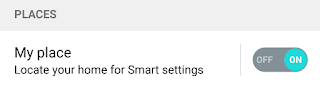 """My Place"" turned on for smart settings"