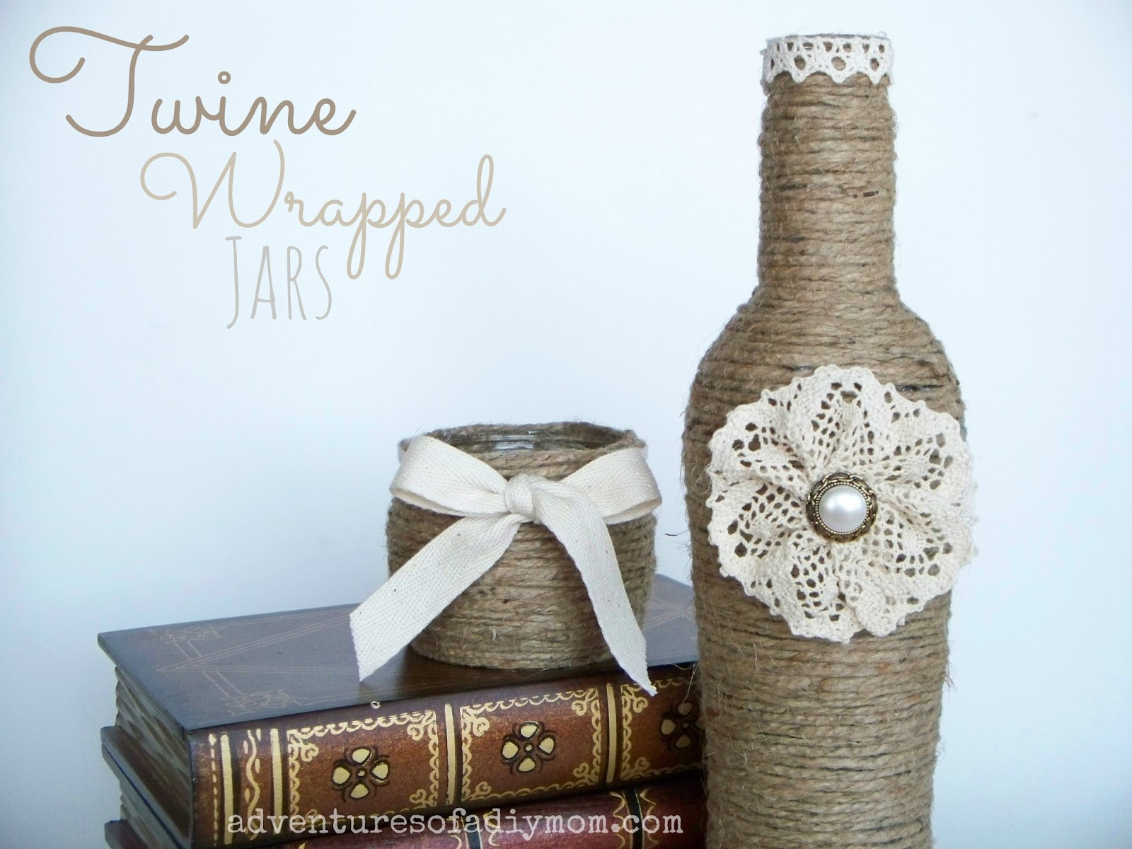 Twine Wrapped Jar with Lace Flower