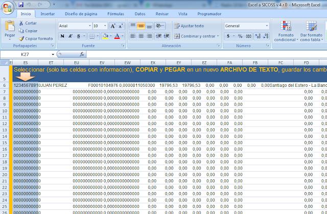 Planilla Excel para exportar al SICOSS 2017