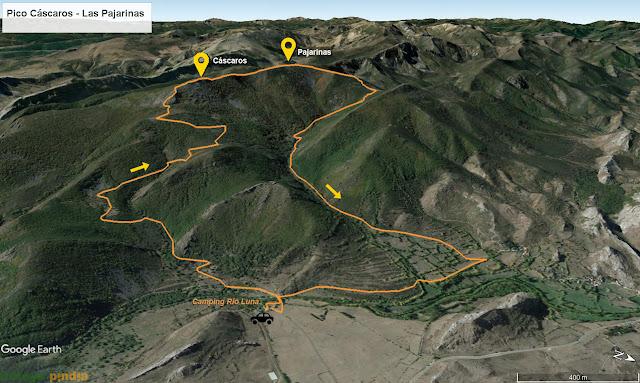 Mapa de la ruta al Pico Cáscaros y las Pajarinas en la comarca de Luna