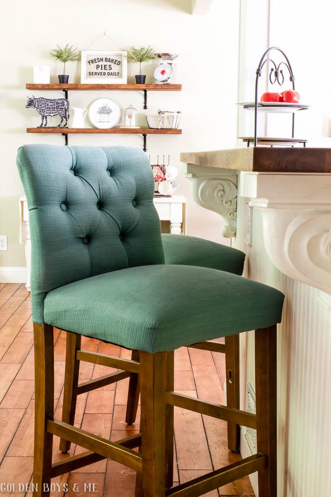 Target Threshold bar stools with DIY wood shelves and Ikea butcher block countertop