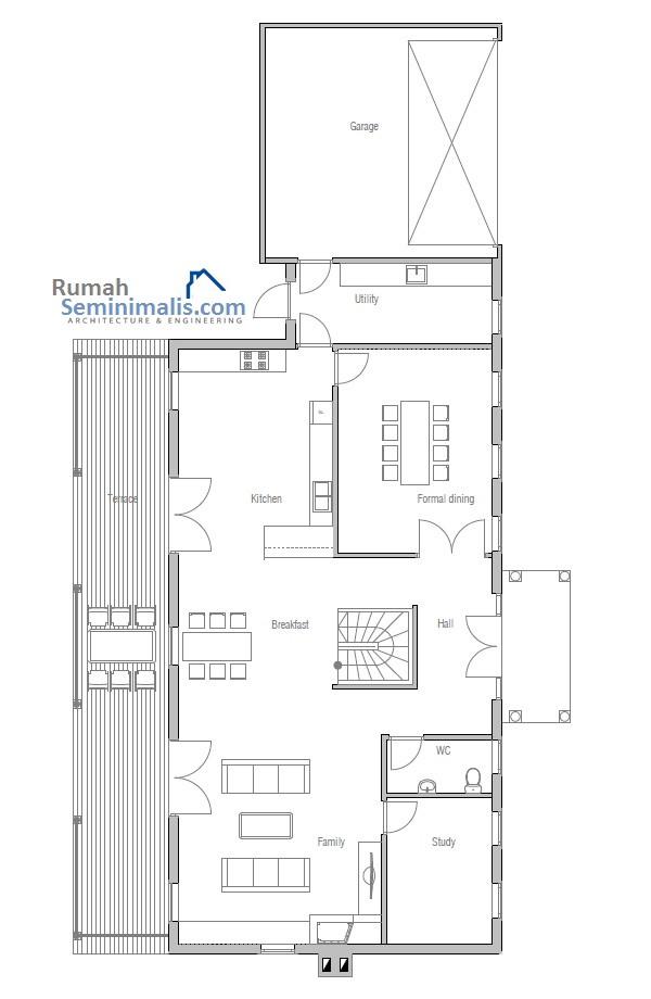 Denah Model Desain Gambar Rumah Minimalis Idaman Sederhana Tipe 133