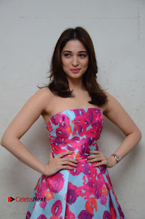 Actress Tamanna Latest Images in Floral Short Dress at Okkadochadu Movie Promotions  0068.JPG
