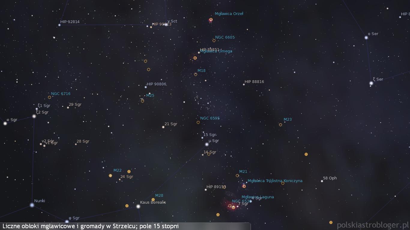 Liczne obiekty mgławicowe i gromady gwiazdowe w gwiazdozbiorze Strzelca. To regiony bliskie już centrum Drogi Mlecznej, skąd znaczne zagęszczenie obiektów tego typu - wiele z nich pozwolą dostrzec standardowe lornetki.