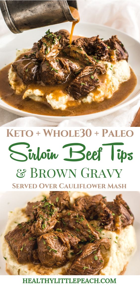 "Hands down, this Beef Tips & Gravy over Cauliflower Mash recipe is by far my new favorite recipe of ALL TIME. I live for comfort food and this meal makes me feel all warm and cozy inside. With this meal, I have to control myself because you will find me creeping in the kitchen for seconds and thirds. Creating delicious meals that serve my family in a healthy way is what I live for! When my husband looks at me and says, ""Babe this is a flipping WINNER DINNER!"" I feel so so good inside, almost like I am nailing this whole wife and mom thing, haha. The best part about this recipe is I have developed it for the stove and instant pot!"