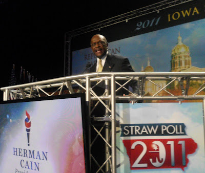 Herman Cain speaks Aug. 13 at the Ames Straw Poll