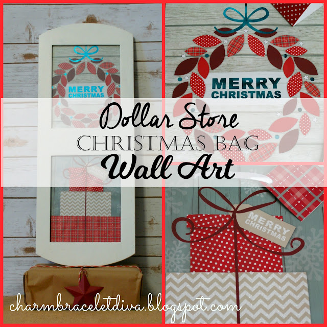 Merry Christmas wreath gift bag Christmas wall art white frame