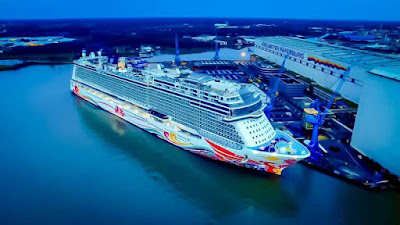 Norwegian Cruise Line's Norwegian Joy Emerges From Meyer Weft Shipyard Papenburg Germany.