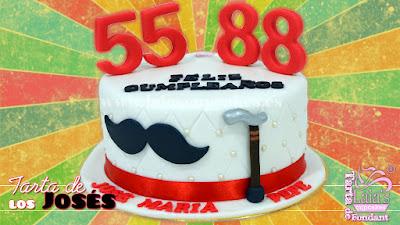 tarta personalizada fondant los josés 55 88 años cumpleaños bastón bigote laia's cupcakes puerto sagunto