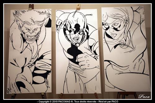 dessins de Firestar, Ant Man et Fauve au marqueur sur toile