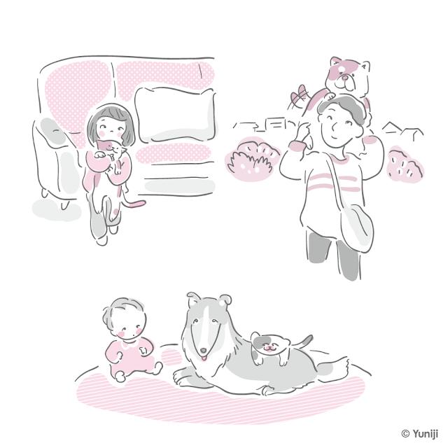 ペットとしての生活の中の動物たち
