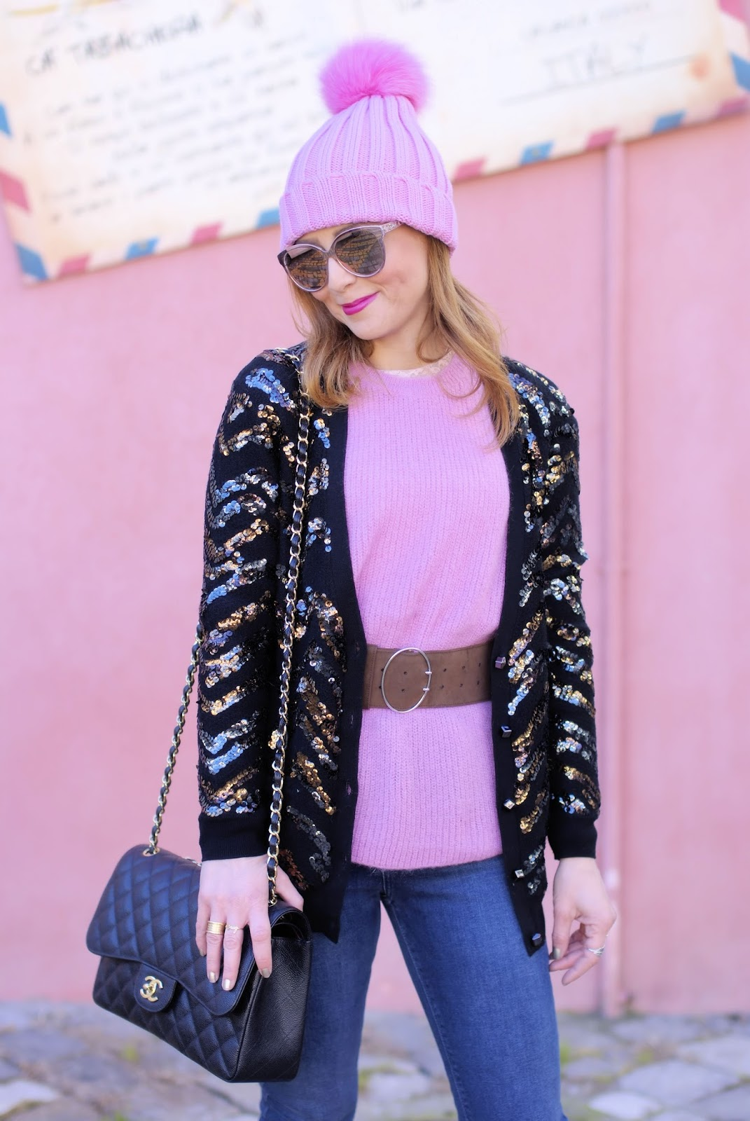 How to wear sequins in the daytime with Diorama2 sunglasses and Chanel 2.55 on Fashion and Cookies fashion blog, fashion blogger style