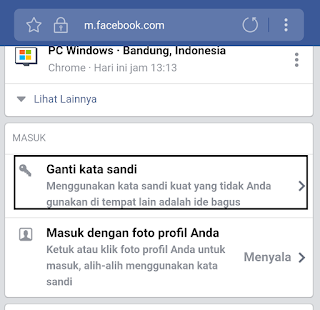 klik ganti kata sandi facebook