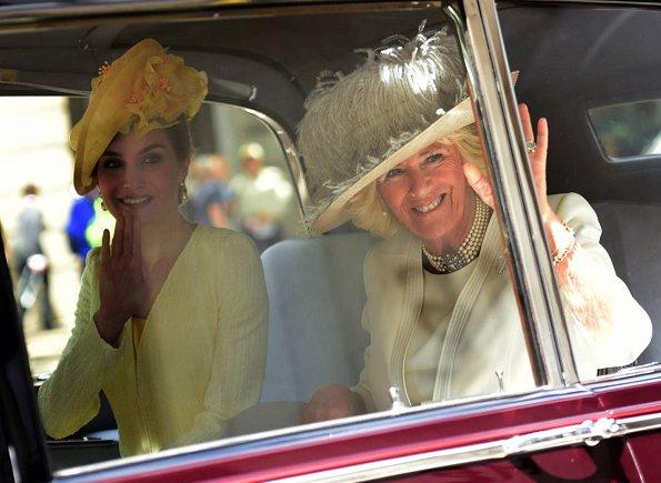 King Felipe, Queen Letizia welcomed by Queen Elizabeth II, Prince Philip, Prince Charles and Duchess Camilla. Felipe Varela dress, Prada pumps