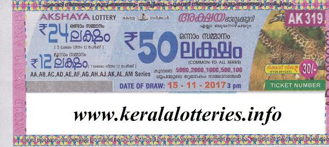 Akshaya Ak-319 lottery on 15-11-2017