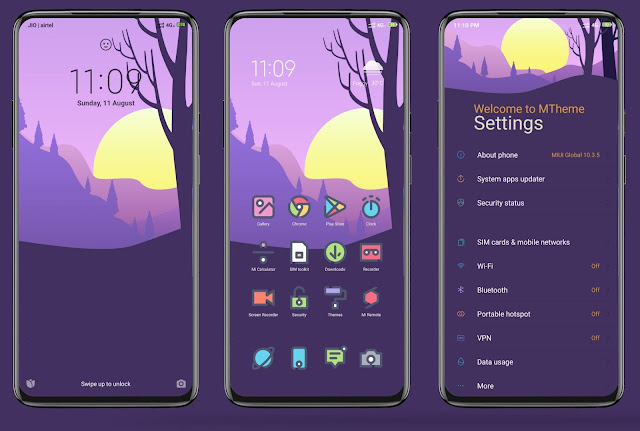 Download Tema Purple Peace MTZ MIUI 10 Terbaru