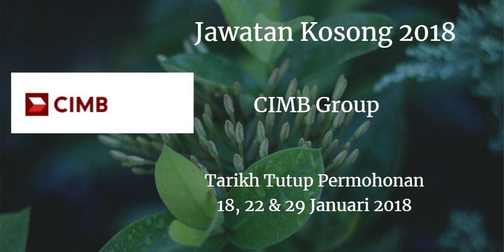 Jawatan Kosong CIMB Group  18, 22 & 29 Januari 2018