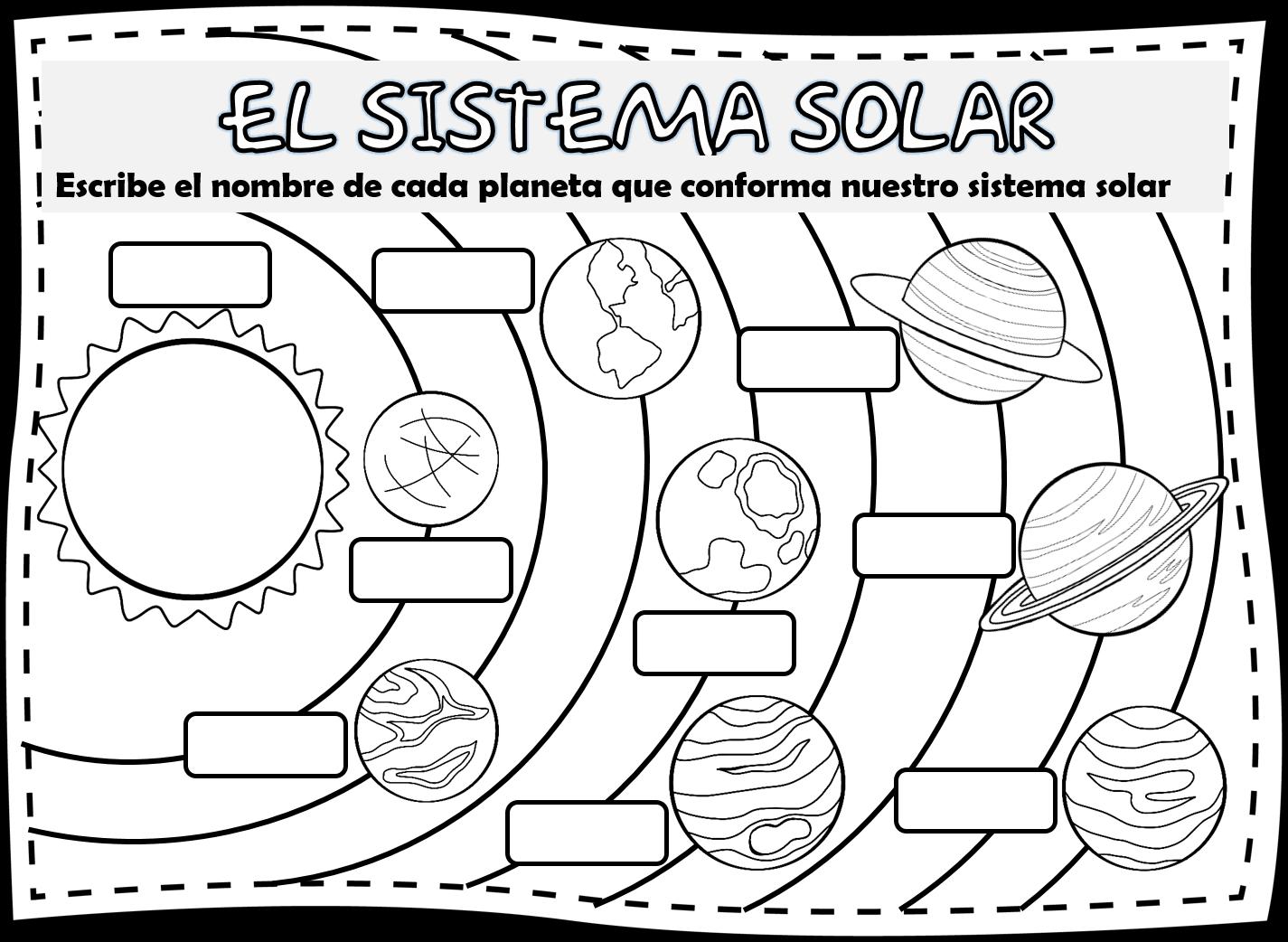 Dibujos Para Colorear Del Sistema Solar: Imagenes De Los Planetas Del Sistema Solar, Para Niños