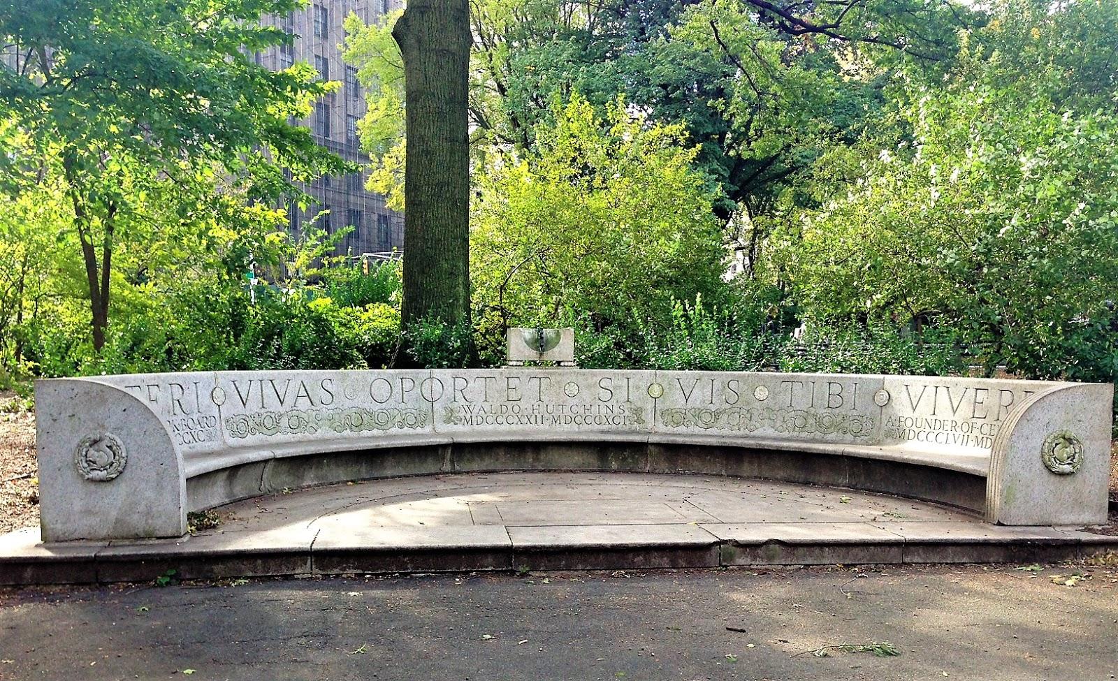 Daytonian In Manhattan The Waldo M Hutchins Bench Central Park