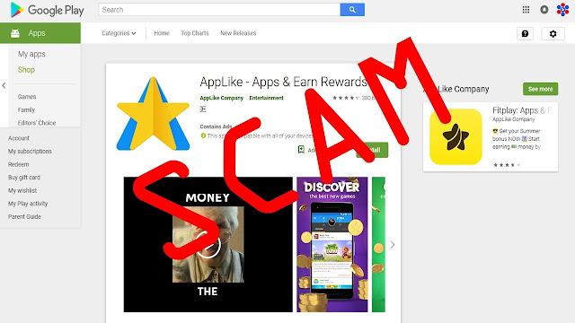 Aplikasi AppLike: Apps & Pramien / Rewards (SCAM)