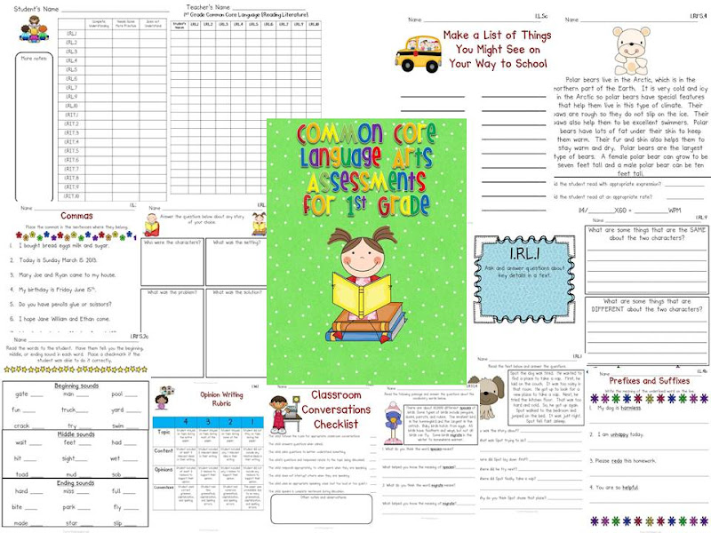 Common Core Language Arts Assessments for 1st Grade - Fun in