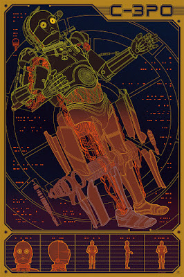 "Star Wars ""C-3PO"" Screen Print by Kevin Tong x Mondo"
