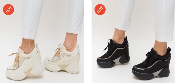 Pantofi sport dama cu talpa inalta negri, bej moderni in tendinte 2019