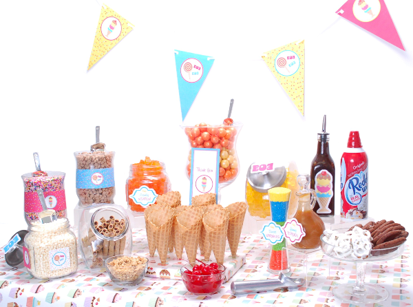 How to Style an Ice Cream & Candy Bar - via BirdsParty.com