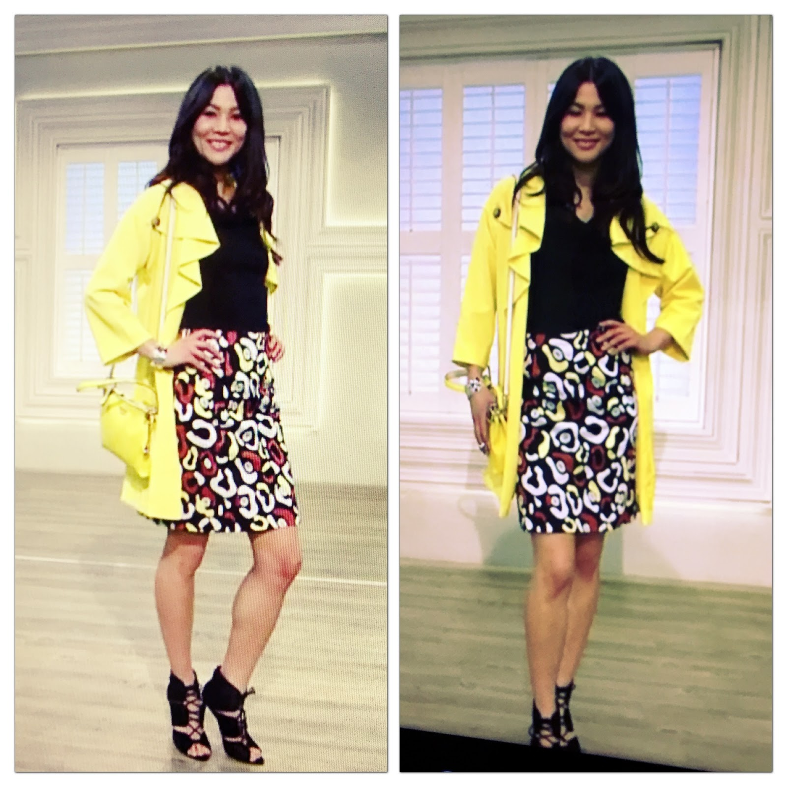 Nv nick verreosqvc uk march 2016 show and photo recap model in nv nick verreos yellow cascade collar trench coat cowl drape top and stretch woven printed skirt qvc uk ccuart Gallery