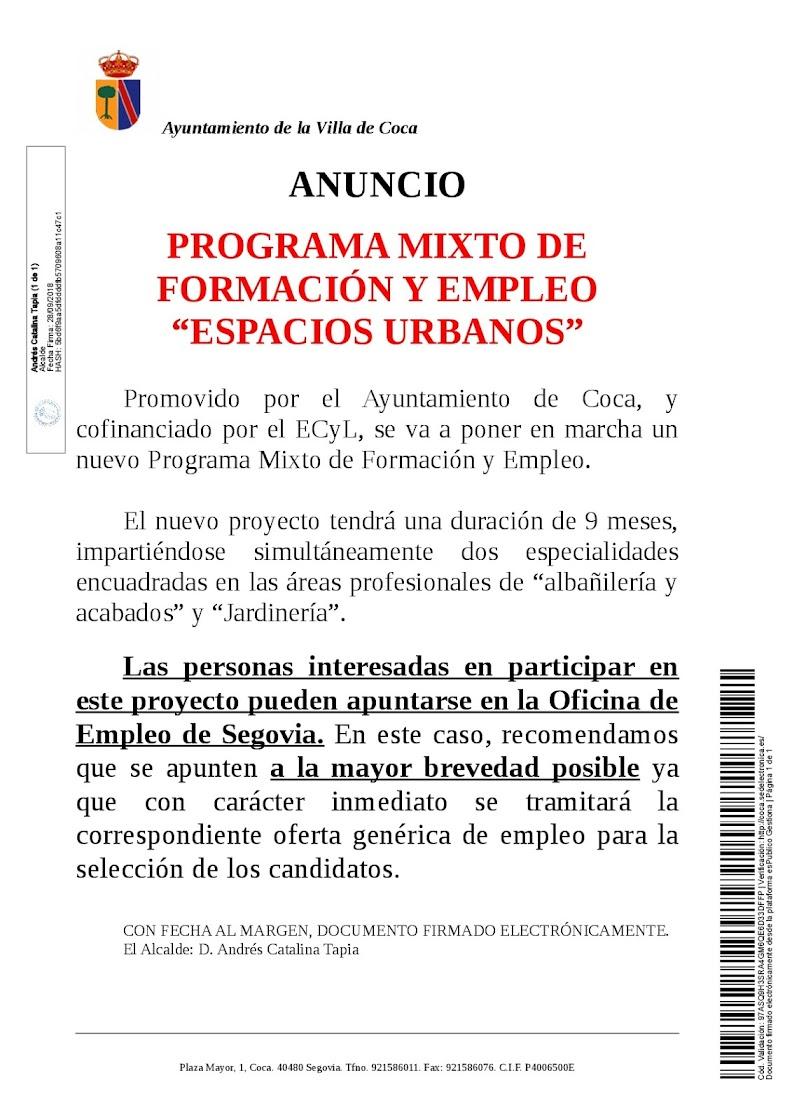 P gina web oficial del ayuntamiento de coca segovia anuncio programa mixto de formaci n y - Oficina de empleo de segovia ...