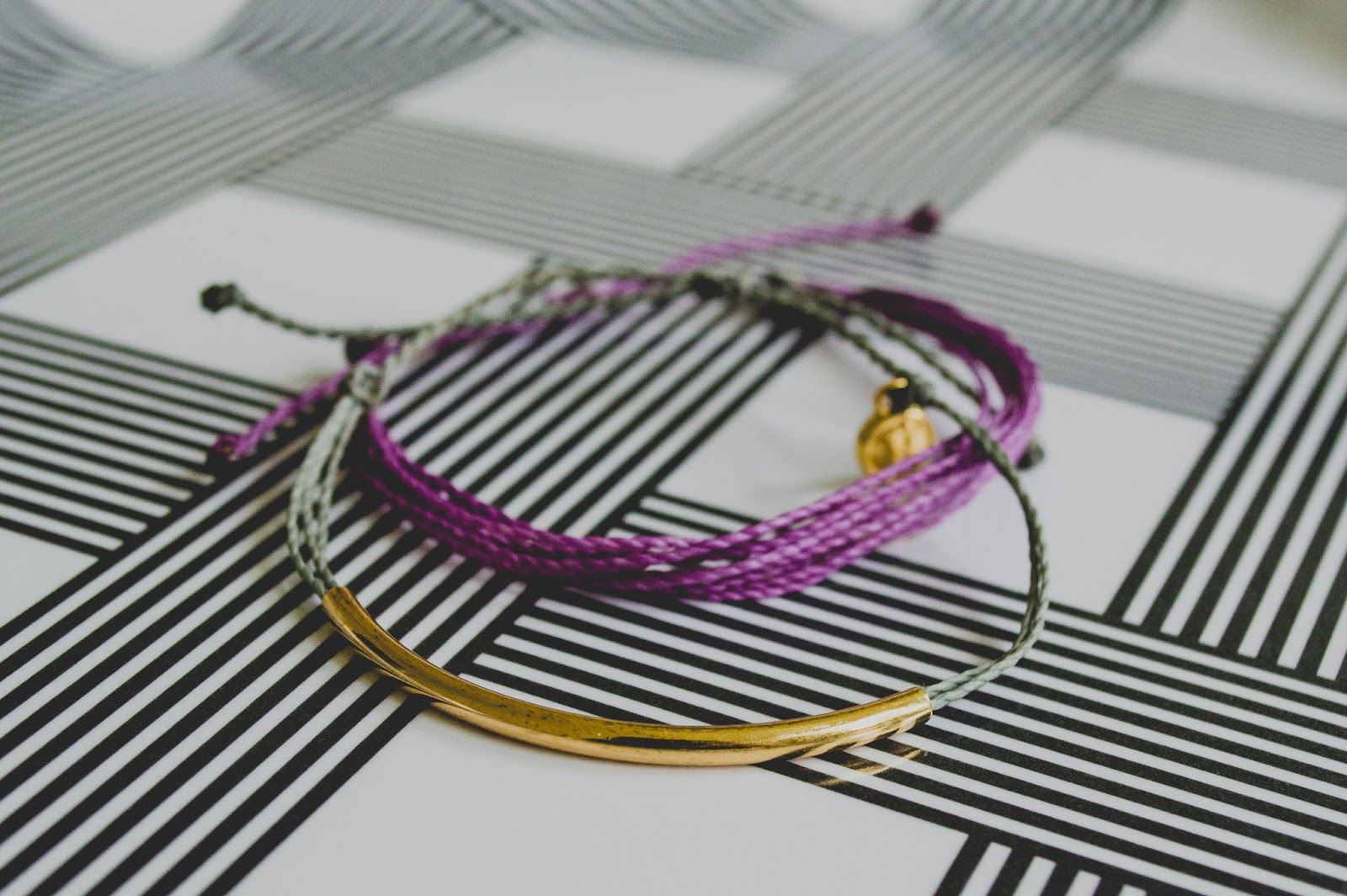 Pura Vida Bracelets Grey Purple Gold Bar Conscious Commerce Birchbox