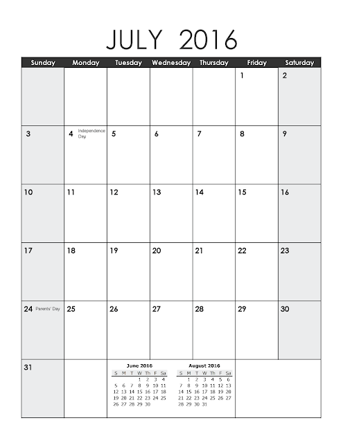 July 2016 Printable Calendar Portrait, July 2016 Blank Calendar, July 2016 Planner Cute, July 2016 Calendar Download Free