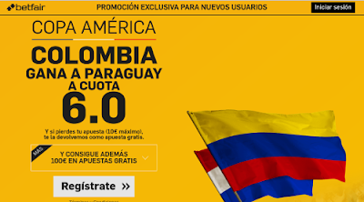 betfair Colombia gana Paraguay supercuota 6 Copa America 8 junio