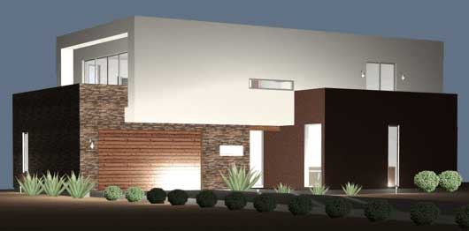 Planos y fachadas de casa habitaci n estilo minimalista for Planos casa minimalista 3d