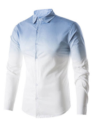 Ericdress Lapel Mens Gradient Loose Shirt