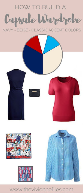Red and Bright Sky Blue - Accents for a Navy and Beige Capsule Wardrobe