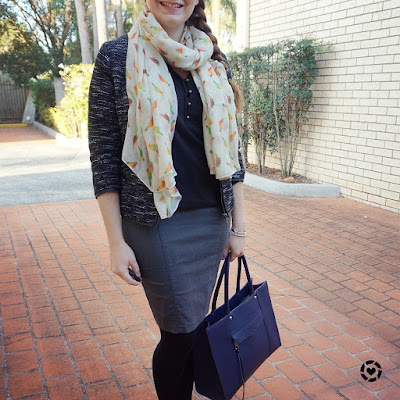 awayfromblue instagram | adding colour to a monochrome office outfit with navy bag parrot print scarf with boucle jacket