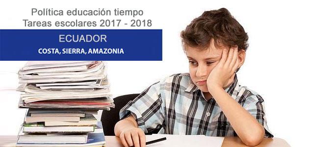 Ministerio de Educación Ecuador política de tareas escolares fines de semana y feriados