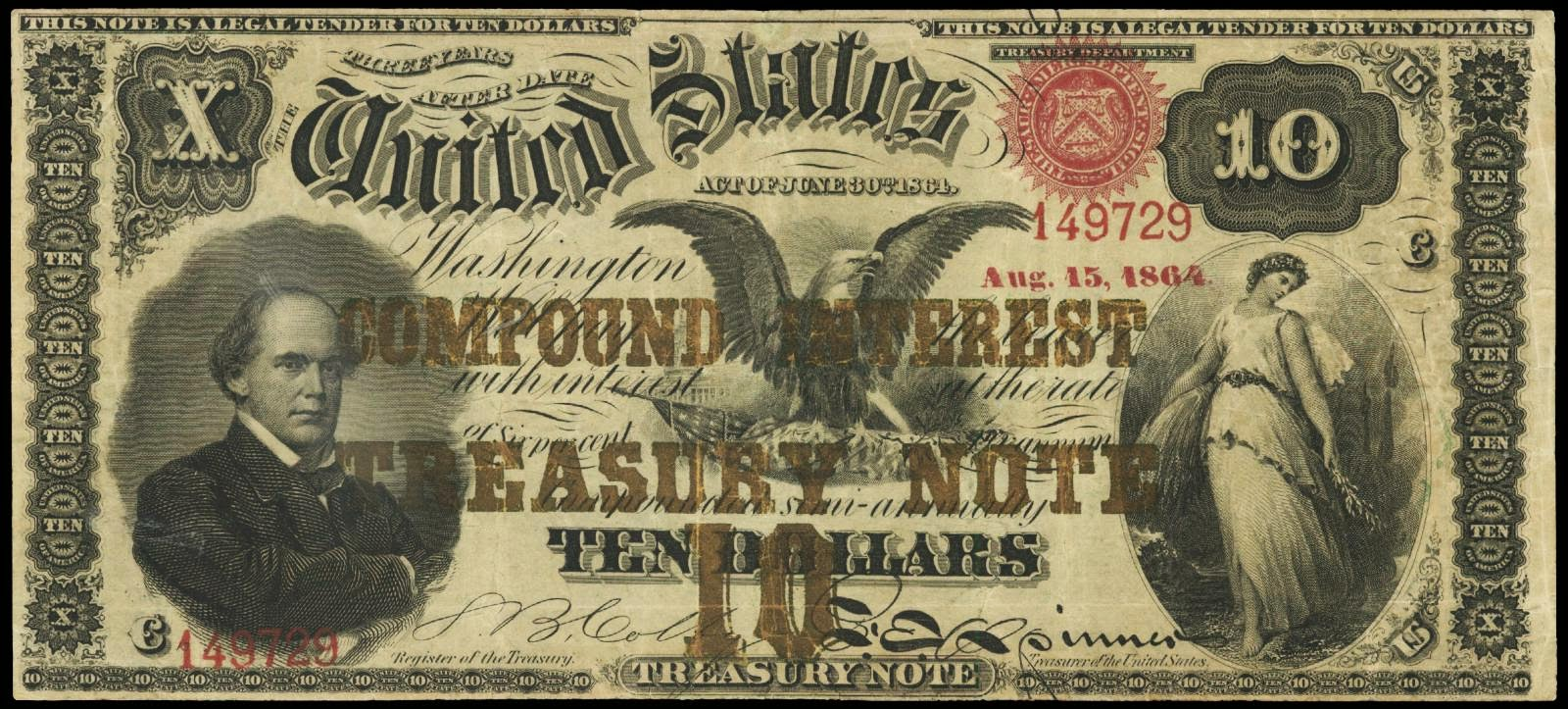 United States currency 10 Dollar Compound Interest Treasury Note 1864