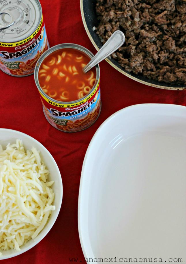 Lasaña fácil de Campbell's® SpaghettiOs® Con Carne by www.unamexicanaenusa.com