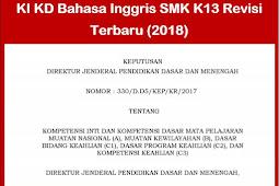 KI KD Bahasa Inggris SMK Kurikulum 2013 Revisi (2018)