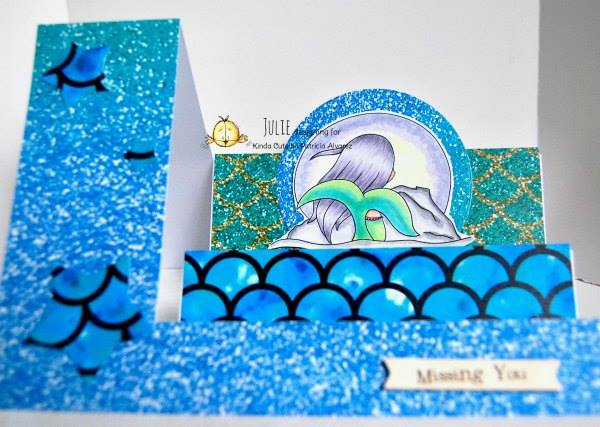 Step card with mermaid staring at the moon digital stamp