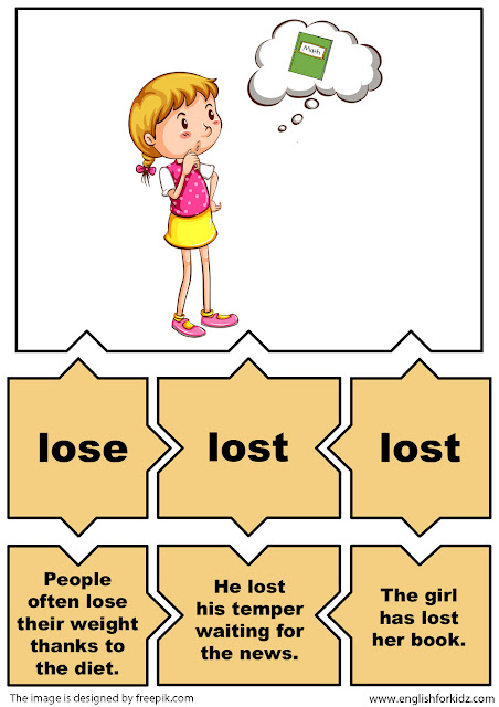 english irregular verbs flashcards, verb lose