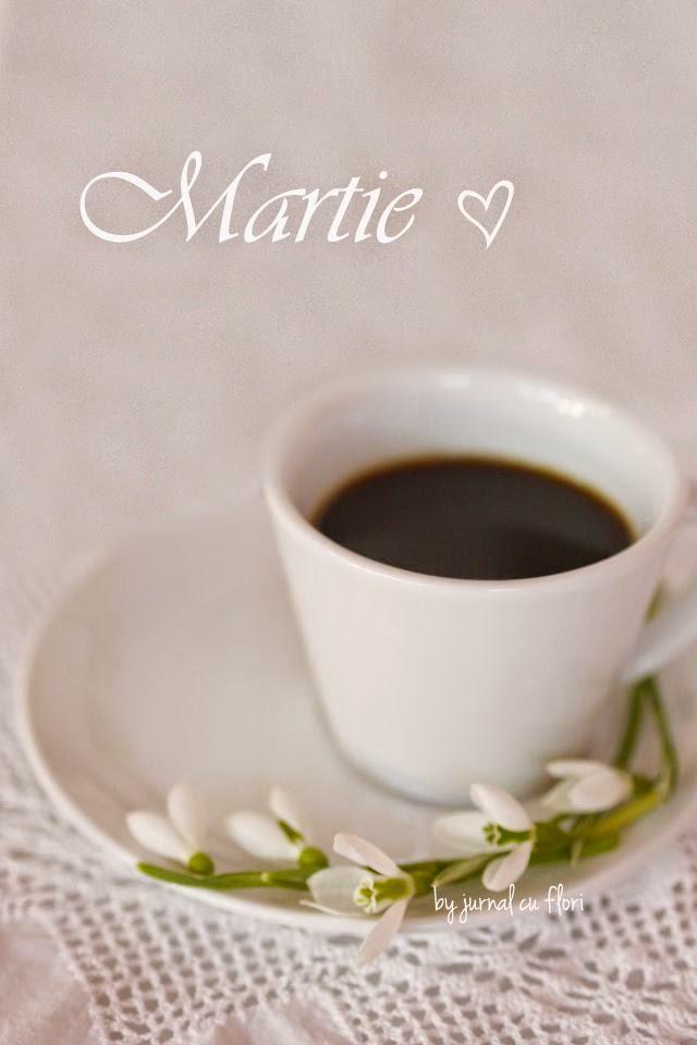 foto poza imagine ceasca cu cafea ghiocei dantela si martie love